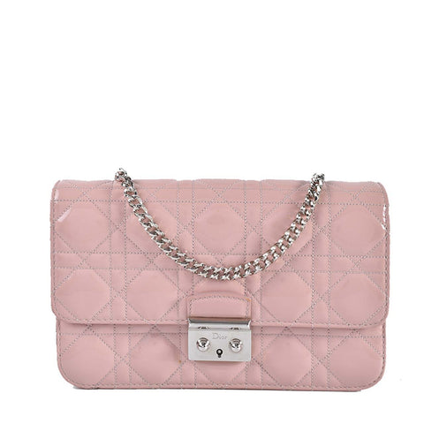 Miss Dior Promenade Pouch Cannage Quilt Patent Large in Poudre Rose 2-MA-0 d808c6a0d005c