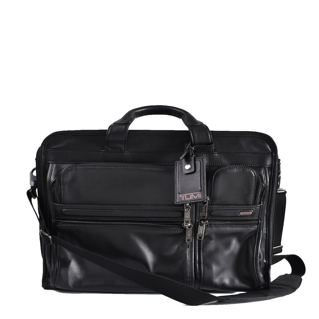 Tumi Leather Alpha Compact Large Screen Computer Brief Luggage Bag