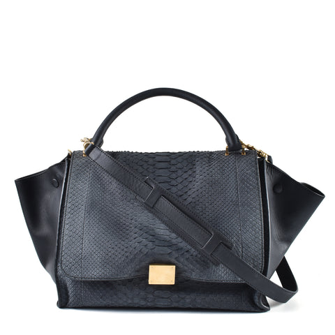 Céline Medium Grey Trapeze Python Bag F-FA-0411