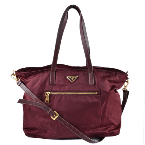 Prada Front Zip Crossbody Nylon Tote in Burgundy