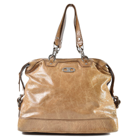 Celine Brown Distressed Patent Double Handled Satchel