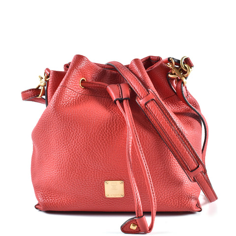 MCM Full Grained Calf Leather Bucket Bag in Red