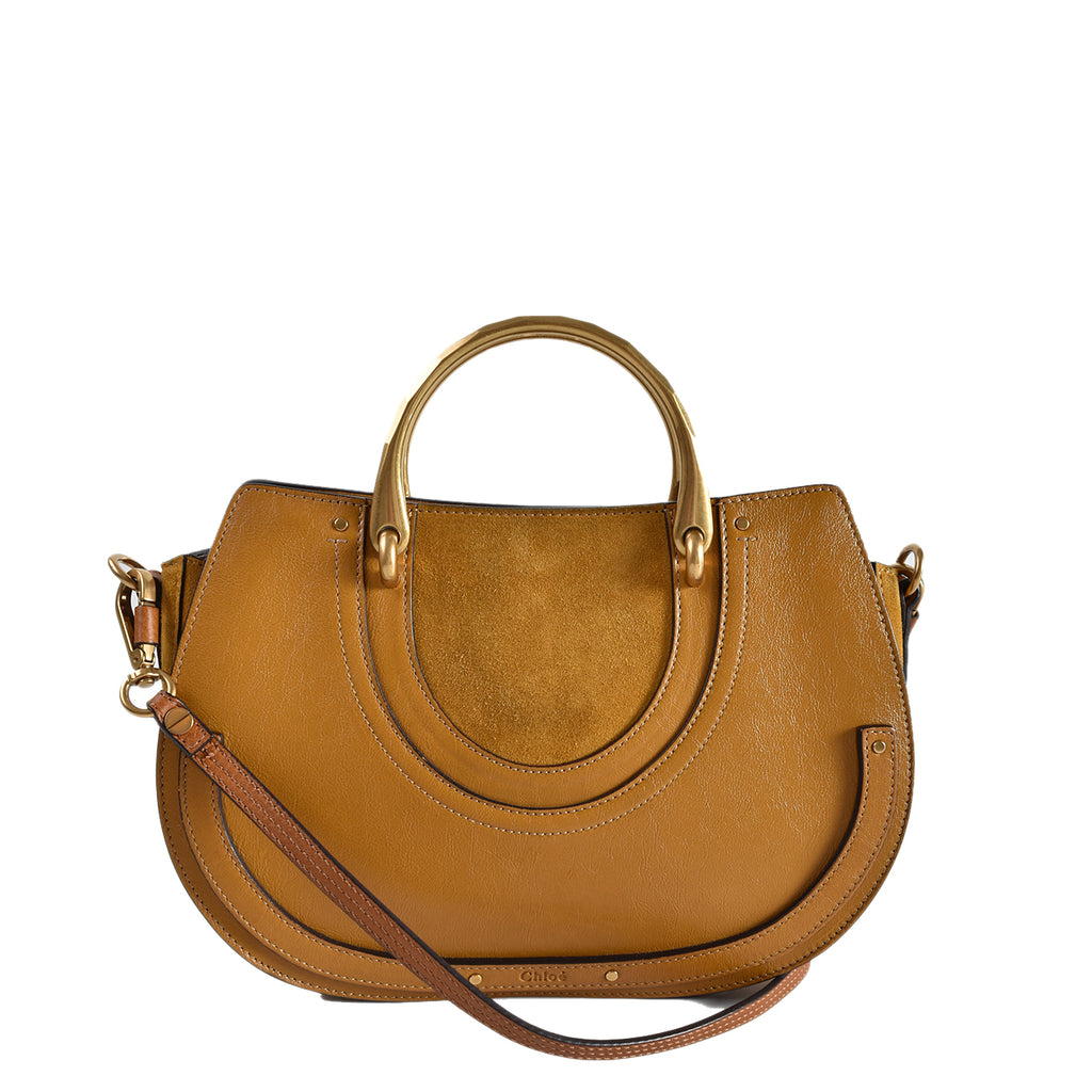 Chloe Motto Brown Suede/Leather Pixie Top Handle Medium Bag
