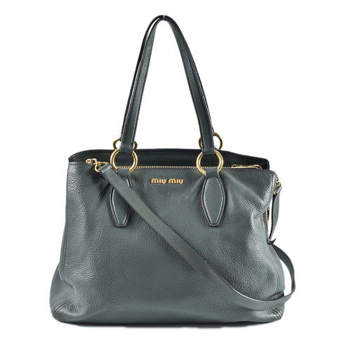 Miu Miu Green Leather Tote