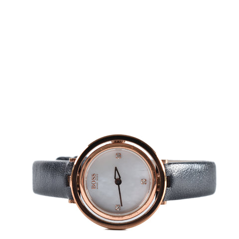 Hugo Boss Ladies Black Leather Strap Watch 1502276