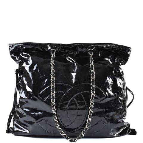 2836a4c255734 Chanel Bon Bon Black Patent Leather Tote