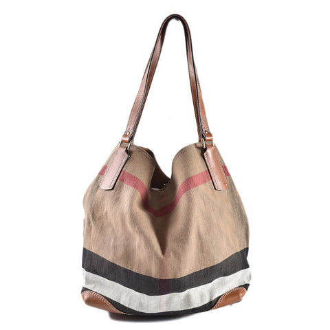 Burberry Brown Check Cotton Tote