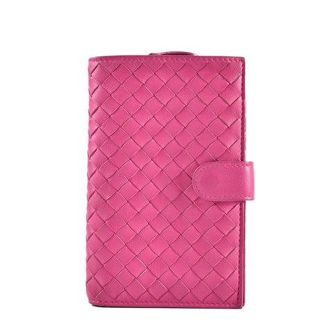 Bottega Veneta Pink Dahlia Intrecciato Nappa French In Wallet B03029869P