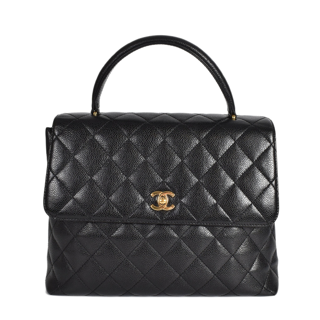 Chanel Black Quilted Caviar Jumbo Vintage Kelly Bag