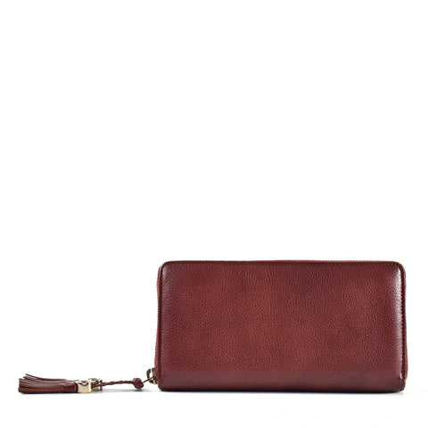 Gucci 261393 496334 Marrakech Zip Around Wallet In Burgundy Calfskin