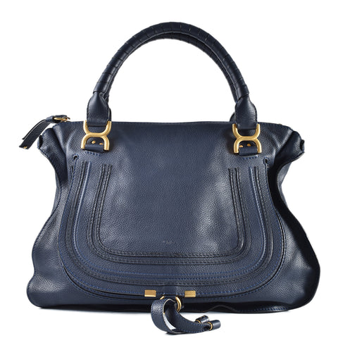 Chloe Large Marcie Small Grain Dark Blue Leather