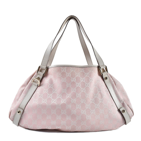 Gucci 130736 Abbey Tote GG Canvas Pink/ivory