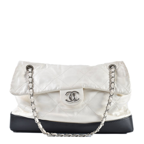 Chanel Seasonal White Aged Calfskin Large Quilted Soft CC Flap with Black Base 14174834 Circa 2010/11