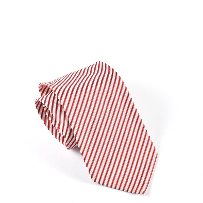 Ermenegildo Zegna Red/Black/White Stripe Silk Tie