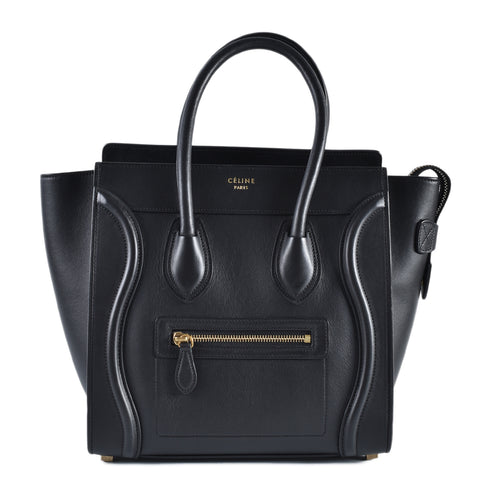 Celine Black Smooth Calf Micro Luggage Tote UCU0124