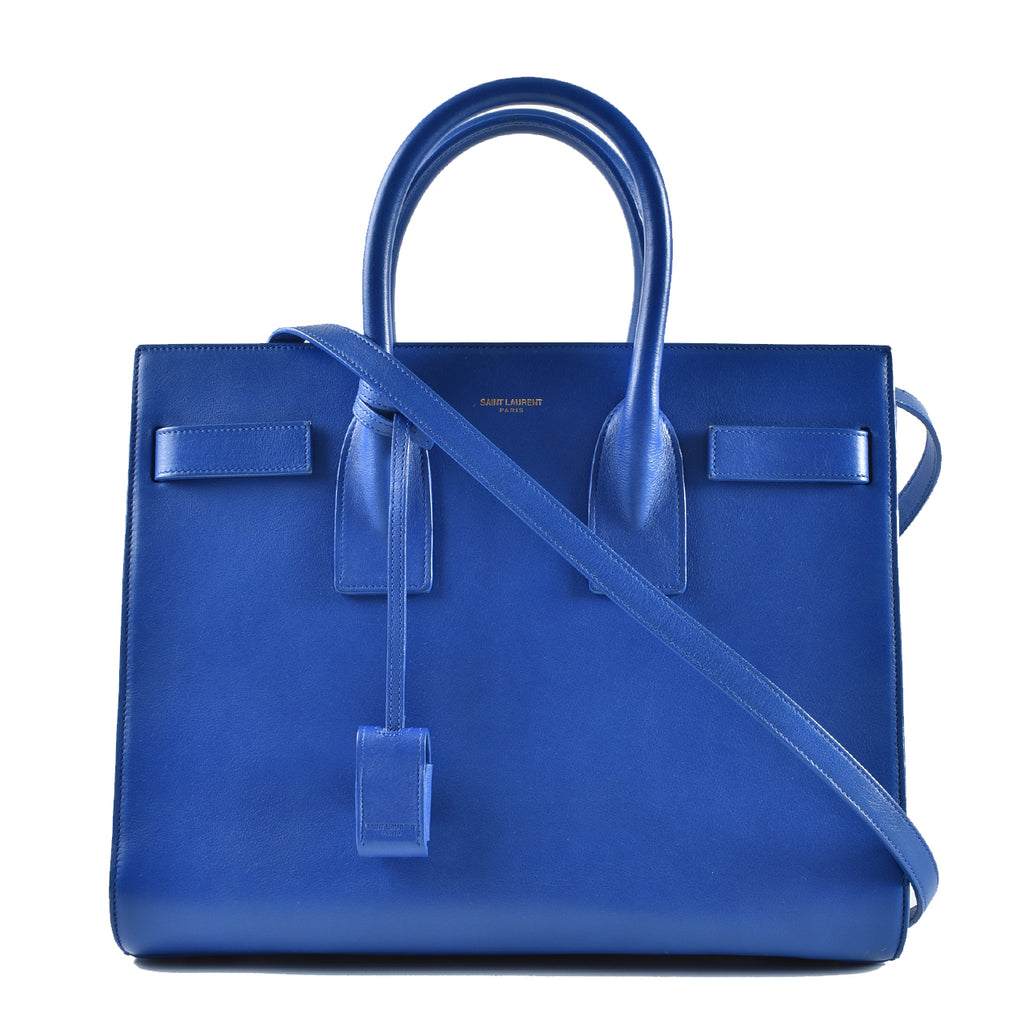 Saint Laurent Classic Sac De Jour Small in Blue Smooth Leather