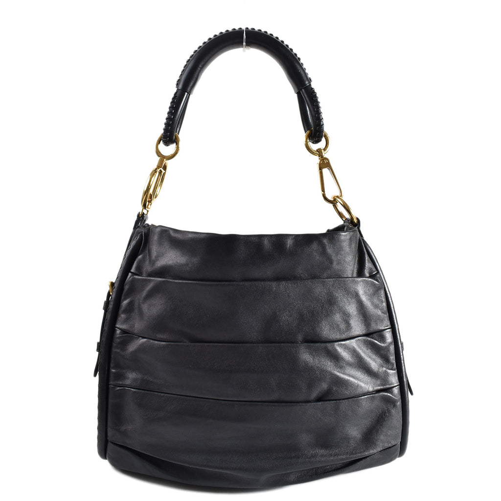 Christian Dior Black Lambskin Pleated Libertine Hobo Bag 19-MA-1050
