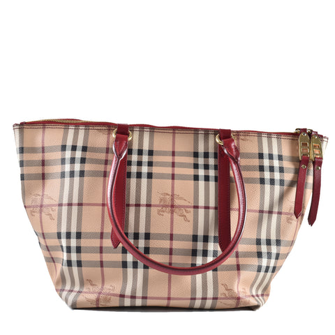 Burberry Small Leather Trim Haymarket Check Salisbury Tote Bag in Military Red TIVITP1262