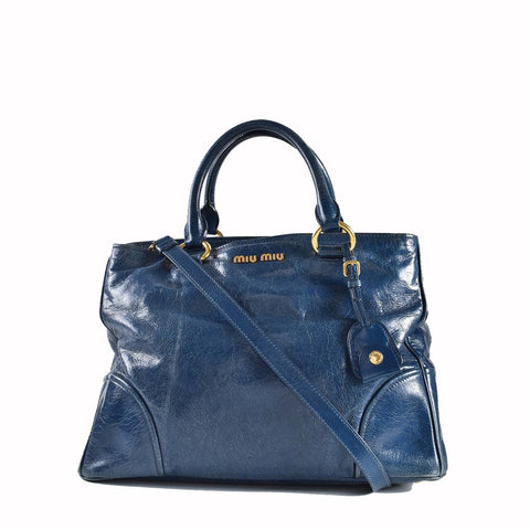Miu Miu Vitello Shine Satchel Bag in Blue Calfskin Leather