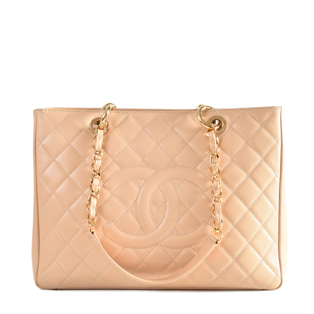 Chanel Beige Quilted Caviar Leather Grand Shopping Tote Bag GHW