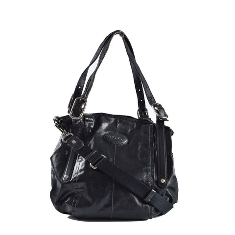 043e198703c83 Tod's Black Glazed Coated Canvas G-Line Easy Sacca Tote