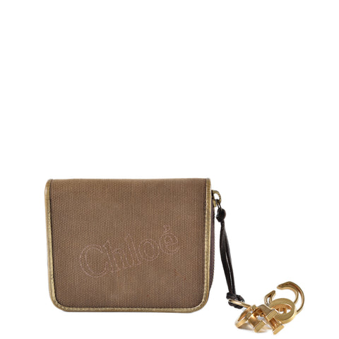 Chloe Brown Canvas Charms Small BiFold Wallet