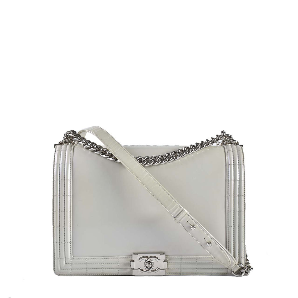 Chanel Grey Pearlized Calfskin Boy Large Book Satchel Flap Bag SS12 Collection 16183719