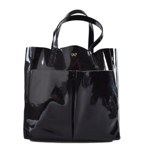 Anya Hindmarch Black Patent Nevis Shopper Tote