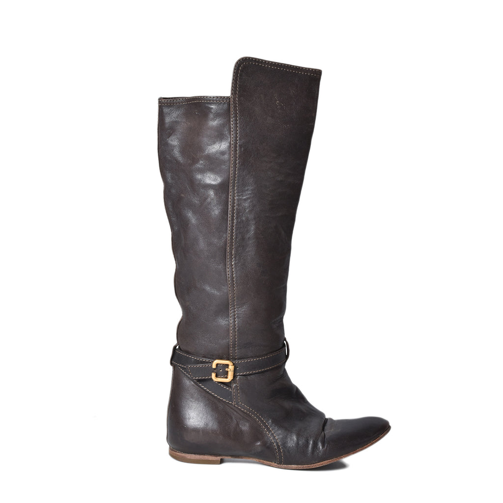 Chloe Brown Leather High Boots
