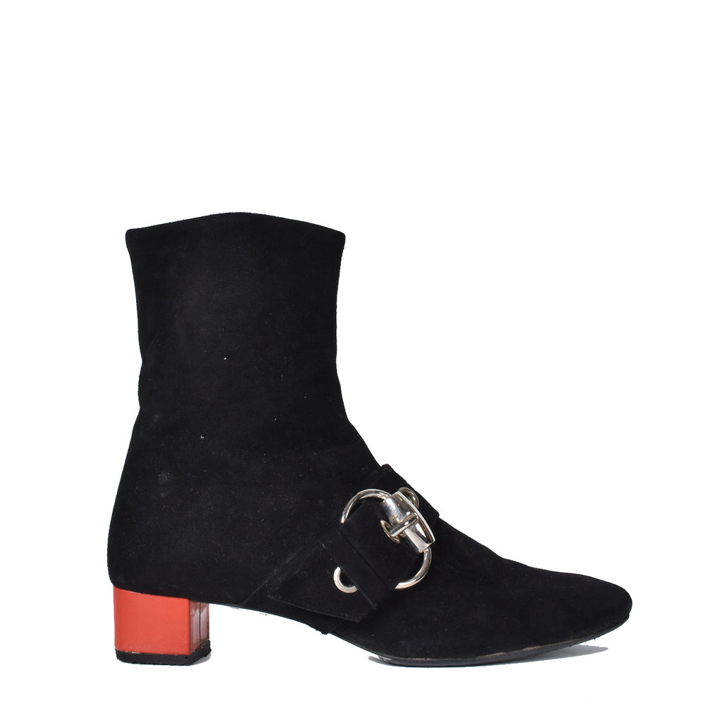 Gucci 177124 Black Suede Red Heel Ankle Boots
