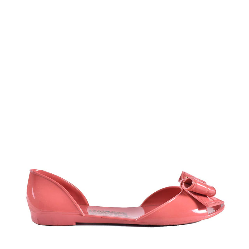 Salvatore Ferragamo Barbados Jelly Flats with Quilted Bow