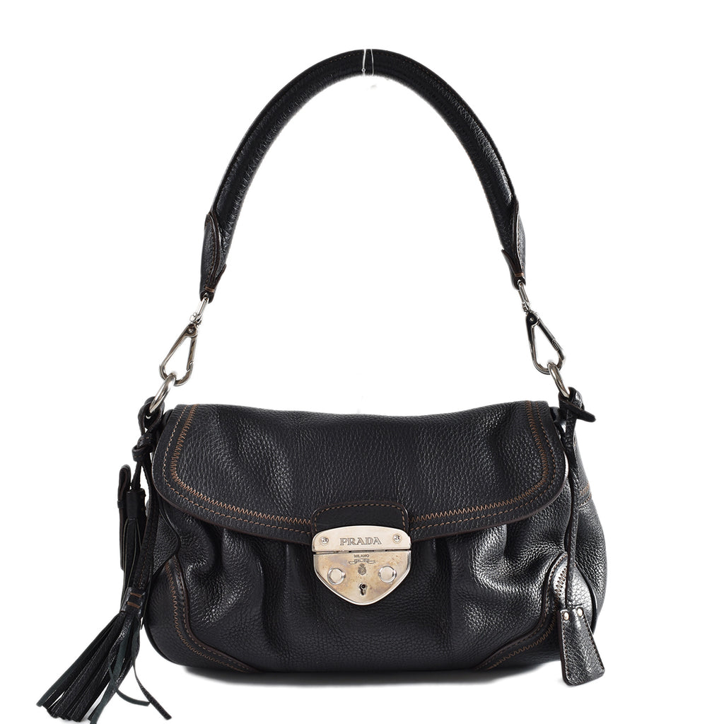 Prada BR3477 Vitello Daino Nero Shoulder Bag