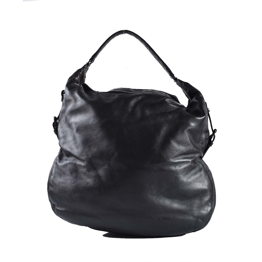 Bottega Veneta Black Leather Croc Embossed Handle Hobo Bag