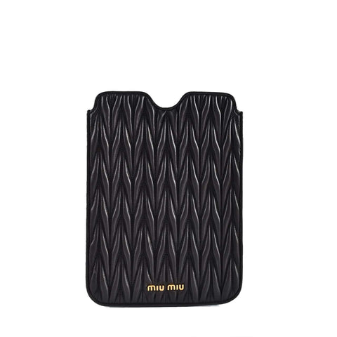 Miu Miu 5ZP-003 Matelasse Ruched iPad Mini Case in Black