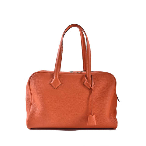 Hermes Feu Clemence Leather Victoria II Bag PHW Stamp C