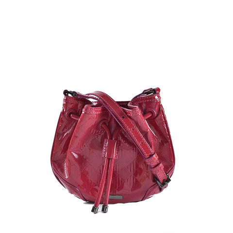 Burberry Harben Check Patent Leather Mini Bucket Bag In Dark Pink