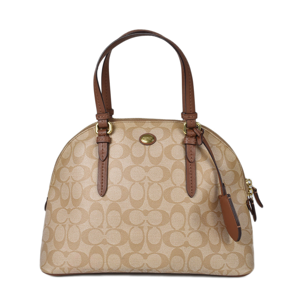 Coach Peyton Signature Cora Domed Satchel in Brown
