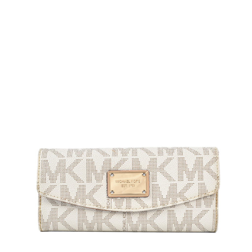 Michael Kors Jet Set Slim Flap Wallet in White