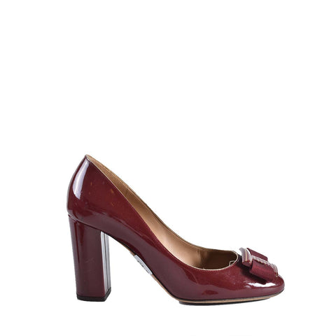 Salvatore Ferragamo Ninna 85 Red Patent Pumps