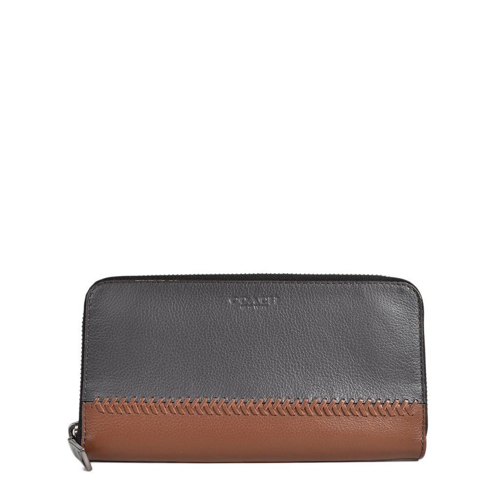 Coach Baseball Stitch Black & Brown Wallet