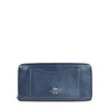 Coach Crossgrain Blue Leather Zip Around Wallet