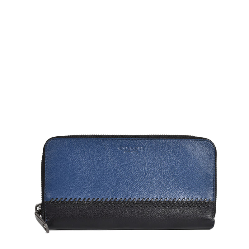Coach Baseball Stitch Blue & Black Accordion Wallet