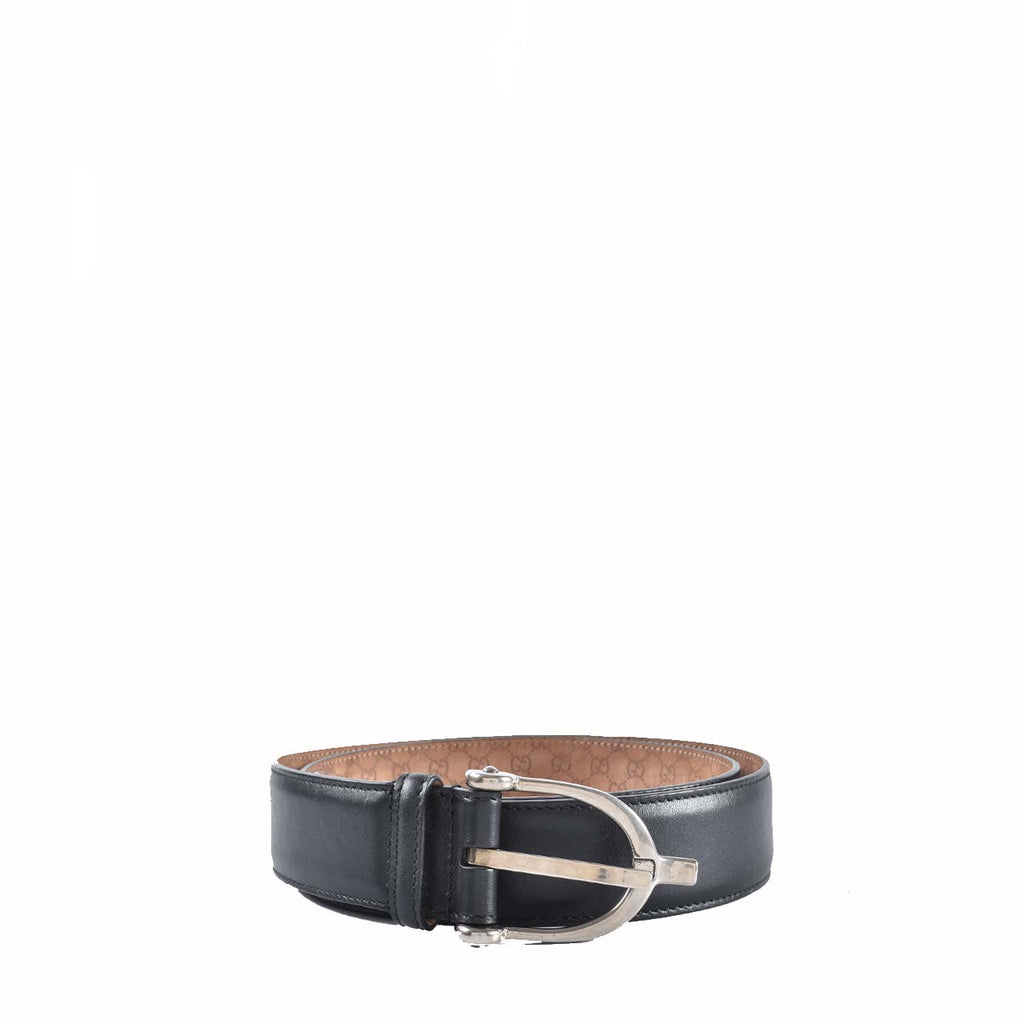 Gucci 309264 Black Horsebit Men's Guccissima Belt