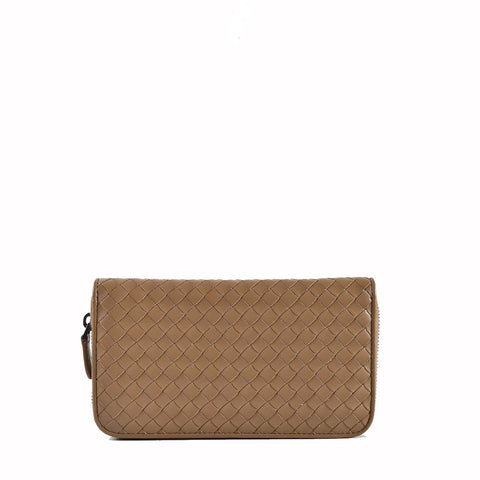 Bottega Veneta Women's Woven Zip Around Light Brown Leather Wallet