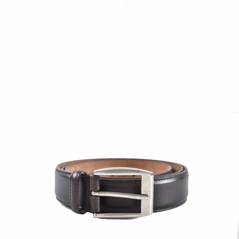 Gucci Mens Dark Brown Leather Belt With Classic Square Buckle 336831