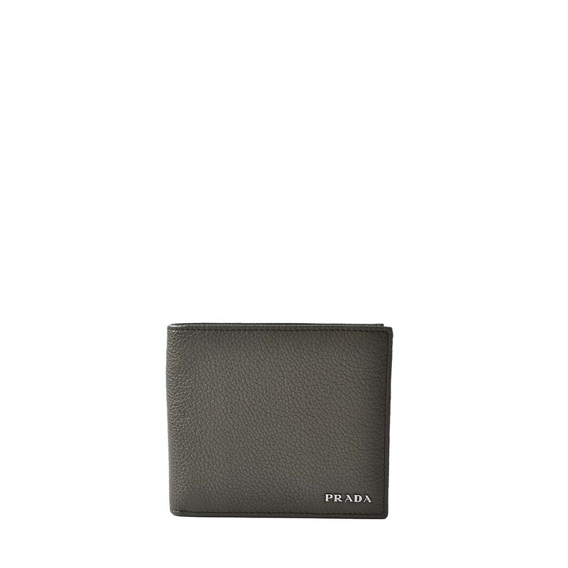 Prada Green Men's Vitello Grain Bifold Wallet