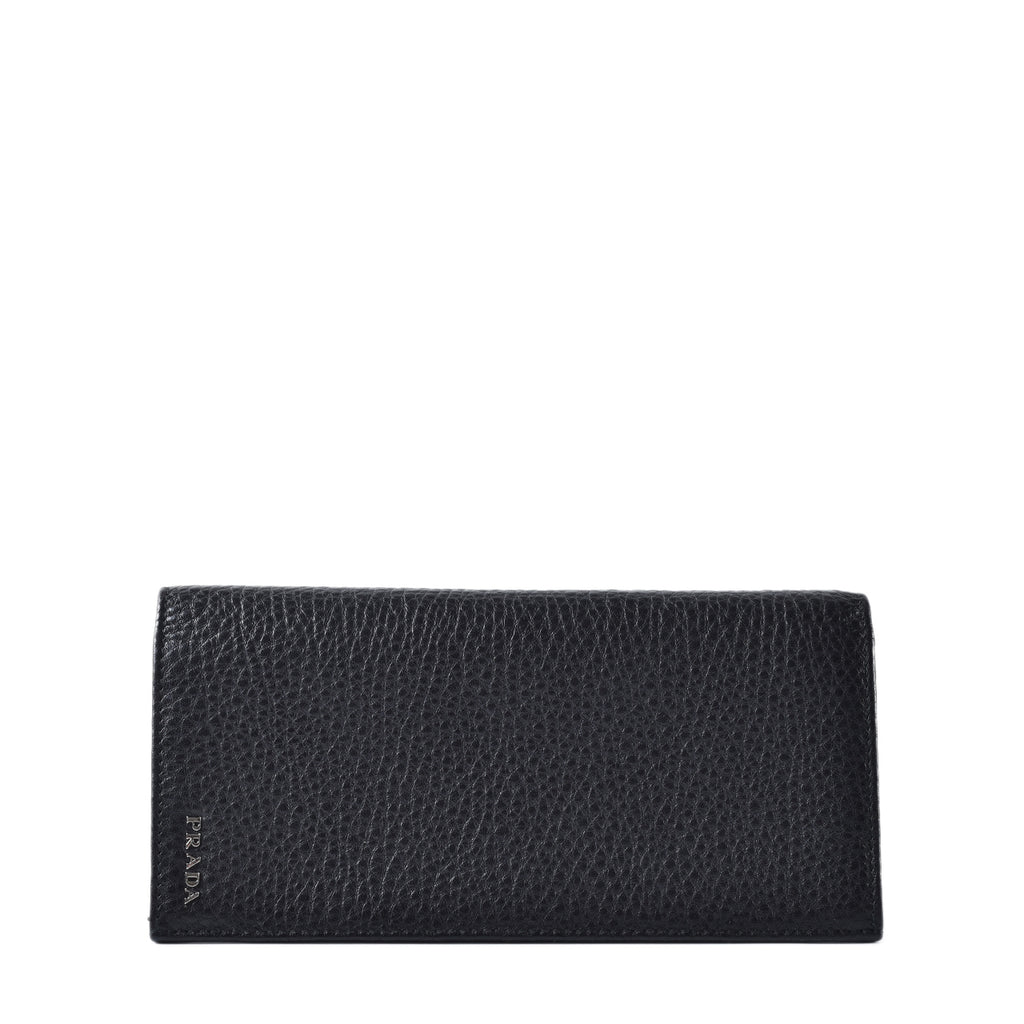 Prada Men Long Wallet Calf Nero