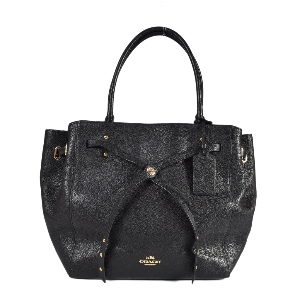 Coach Turnlock Tie Tote Bag in Black