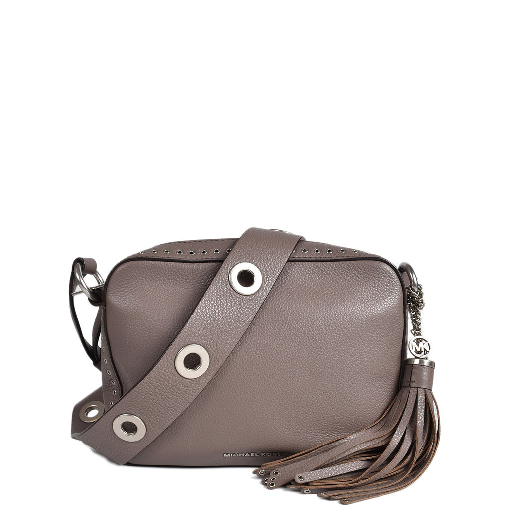 Michael Kors Brooklyn Large Leather Camera Bag in Cinder Color