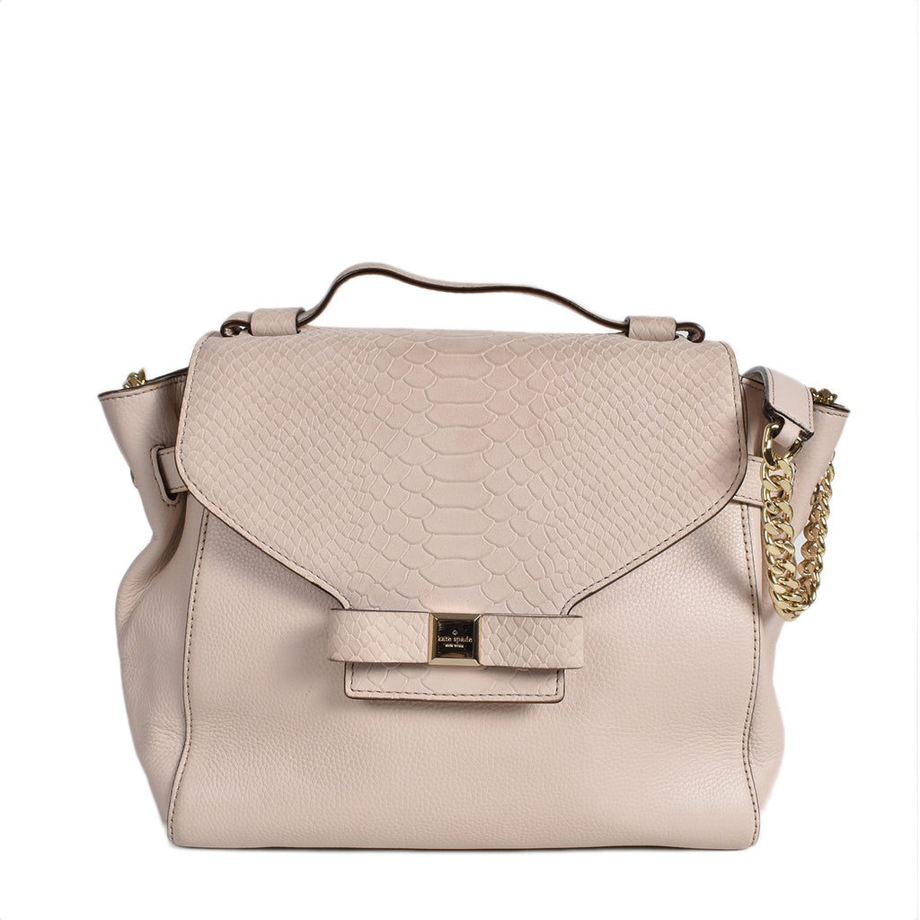 Kate Spade Bow Leather Tote Bag in Beige